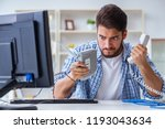 frustrated young man due to... | Shutterstock . vector #1193043634