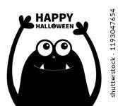 happy halloween. monster head... | Shutterstock .eps vector #1193047654