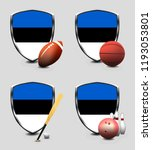 estonia shield. sports items | Shutterstock . vector #1193053801