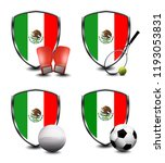 mexico shield. sports items | Shutterstock . vector #1193053831