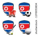 north korea shield. sports items | Shutterstock . vector #1193053834