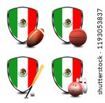 mexico shield. sports items | Shutterstock . vector #1193053837