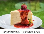 strawberry crape cake. | Shutterstock . vector #1193061721