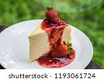 strawberry crape cake. | Shutterstock . vector #1193061724