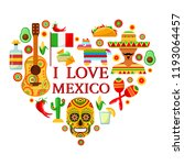 mexican attributes in shape of... | Shutterstock .eps vector #1193064457