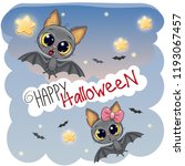 greeting halloween card with... | Shutterstock .eps vector #1193067457