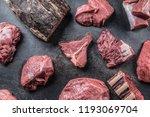 top of view assortment raw beef ... | Shutterstock . vector #1193069704