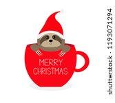 merry christmas. sloth sitting... | Shutterstock .eps vector #1193071294
