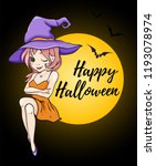 halloween greeting card with... | Shutterstock .eps vector #1193078974