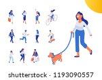 Stock vector flat isometric girl walking with dog isometric people vector set flat vector characters isolated 1193090557