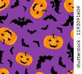 seamless pattern with halloween ... | Shutterstock .eps vector #1193091604