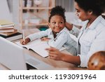 little girl and young mother... | Shutterstock . vector #1193091964