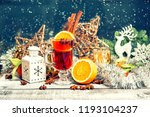 mulled wine with fruits ans...   Shutterstock . vector #1193104237