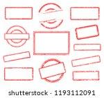 big set of empty rubber stamps. ... | Shutterstock .eps vector #1193112091