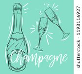 champagne bottle and pair of... | Shutterstock .eps vector #1193116927