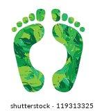 foot print in leaves vector... | Shutterstock .eps vector #119313325