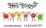 cute jumping fruits and... | Shutterstock .eps vector #1193144737