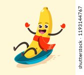 cute banana kid in scarf... | Shutterstock .eps vector #1193144767