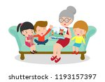 grandmother reading fairy tales ...   Shutterstock .eps vector #1193157397