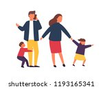 family with kids. tired parents ... | Shutterstock .eps vector #1193165341