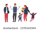 family with kids. tired parents ... | Shutterstock .eps vector #1193165344