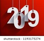 2019 white paper origami card... | Shutterstock .eps vector #1193175274