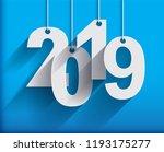 2019 white paper origami card... | Shutterstock .eps vector #1193175277