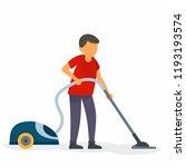 husband vacuum cleaner concept...   Shutterstock .eps vector #1193193574