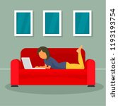 woman freelancer at sofa... | Shutterstock .eps vector #1193193754