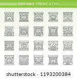 fireplace thin line icon set.... | Shutterstock .eps vector #1193200384