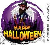 happy halloween design template ... | Shutterstock .eps vector #1193203474