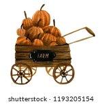 the watercolor wheelbarrow is... | Shutterstock . vector #1193205154