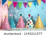 colorful hats flag garland and... | Shutterstock . vector #1193211577