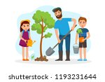 man and children plant a tree... | Shutterstock .eps vector #1193231644