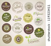 organic food labels and elements | Shutterstock .eps vector #119323411