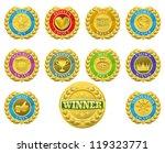 golden winners medals like...   Shutterstock .eps vector #119323771