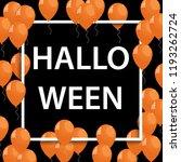 frame with orange ballons for... | Shutterstock . vector #1193262724