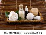 spa setting in basket on mat    Shutterstock . vector #1193263561