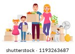 happy family move into new home ...   Shutterstock .eps vector #1193263687