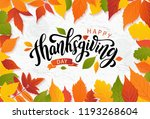 happy thanksgiving day with... | Shutterstock .eps vector #1193268604