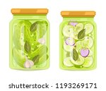 pickles and canned vegetables...   Shutterstock .eps vector #1193269171