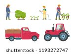 tractor and lorry with load...   Shutterstock .eps vector #1193272747