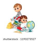 kids sitting on piles of books. ... | Shutterstock .eps vector #1193273527