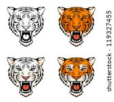 line illustration of a roaring tiger head in various color combinations, suitable as a tattoo or sport team mascot