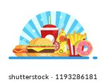 burger  french fried  pizza ... | Shutterstock .eps vector #1193286181