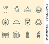 restaurant icons set with... | Shutterstock .eps vector #1193303911