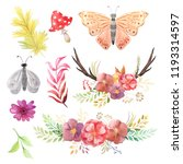 Set of hand painted watercolor butterfly, moth, flowers, leaves, antlers and berry in rustic style. Forest autumn Boho rustic compositions perfect for floral design projects and wedding invitations