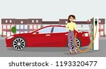 woman charges an electric car... | Shutterstock .eps vector #1193320477