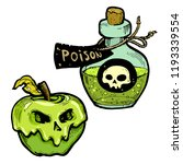 poison apple and bottle  hand... | Shutterstock .eps vector #1193339554