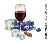 watercolor glass of red wine... | Shutterstock . vector #1193347921